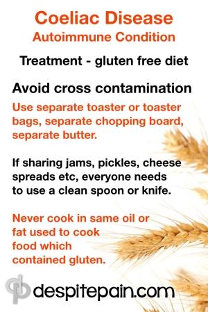 coeliac disease - advice to avoid cross contamination. Gluten free food.