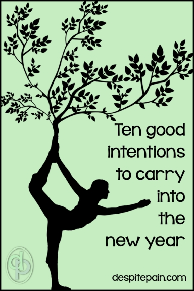 Good intentions to carry into the new year. Positivity, smile, kindness, coping, gratitude, hope, help, chocolate, enjoy, focus, love yourself