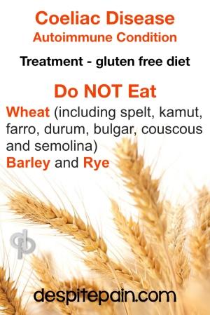 Coeliac disease, gluten free - food which should not be eaten.