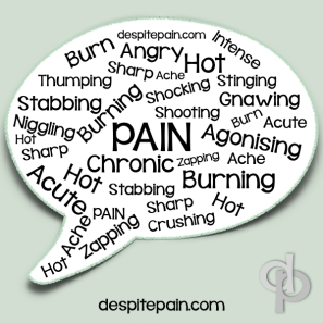 Wordcloud description of pain. Agonising, Zapping, burning, crushing, chronic, acute, shooting, shocking, sharp, stabbing, good pain theory