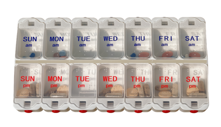 Be organised with meds and use a pill box.
