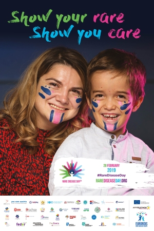 Rare disease day. Show your rare, show you care. Official poster from rarediseaseday.org