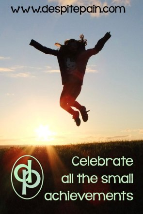 Celebrate the small achievements. Person jumping, celebrating.