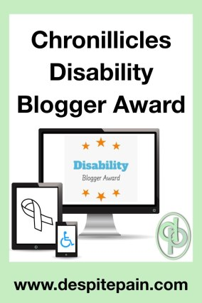Chronillicles Disability Blogger Award.