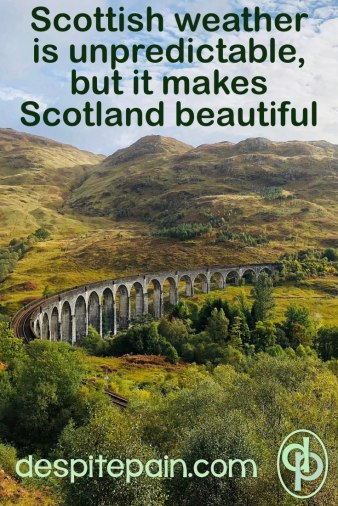 Scottish weather is unpredictable, but it makes Scotland beautiful. Scottish scenery, mountains, Glenfinnan Viaduct.