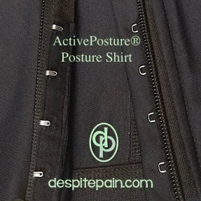 ActivePosture posture shirt, zipper version showing the covering under the zip and hook and eye fasteners