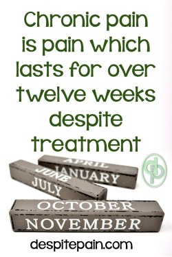 Chronic pain is pain which lasts longer than twelve weeks.