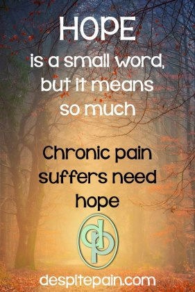 Hope is a small word, but it means so much. Chronic pain suffers need hope.