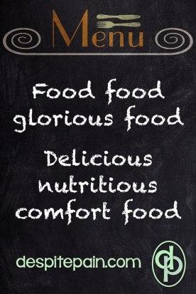 Menu board. Comfort food.