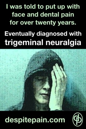 Trigeminal neuralgia. Diagnosed after twenty years of facial and dental pain. Picture - person with face pain.