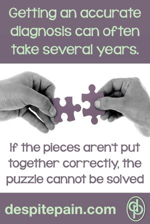 Getting an accurate diagnosis can take years. If the puzzle pieces aren't put together correctly, the puzzle cannot be solved. Picture - hands holding jigsaw puzzle pieces.