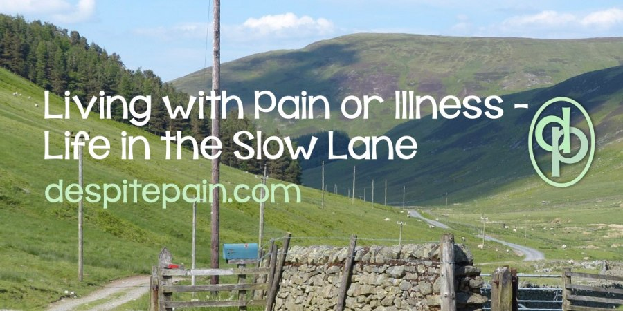 Living with pain or illness: Life in the slow lane. Narrow country road in Scotland