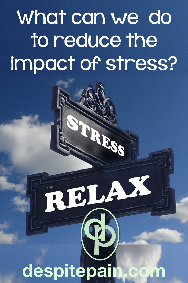 What can we do to reduce the impact of stress. Picture or road sign saying 'stress' and 'relax'