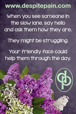 When you see someone in the slow lane, say hello, ask how they are. They might be struggling and your friendly face could help them. Flowers.