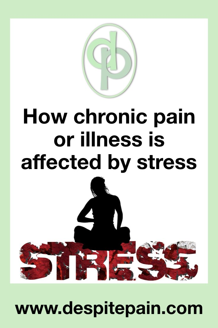 How chronic pain or illness is affected by stress. Picture of woman sitting on word stress.