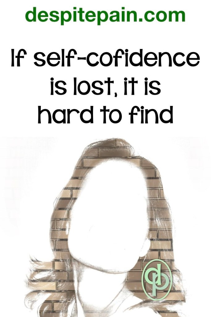 When people lose their self-confidence, it is hard to find, Pic of blank face against wall